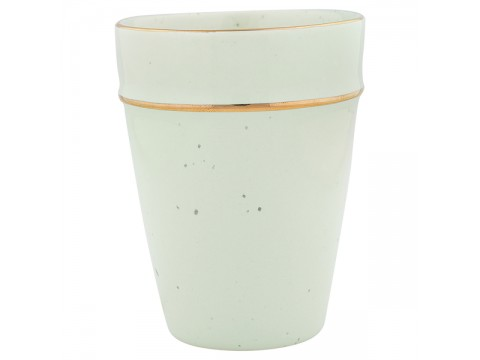 Puodelis Pale green with Gold rim
