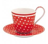 Kavos puodelis su lėkštute Spot red