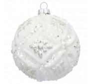 Kalėdinis žaisliukas December glitter white