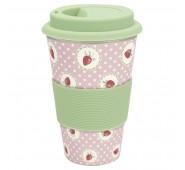 Kelioninis bambukinis puodelis Strawberry pale pink